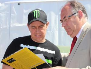 Isle of Man TT legend John McGuinness and Isle of Man Post Office Chairman Geoff Corkish MBE MLC